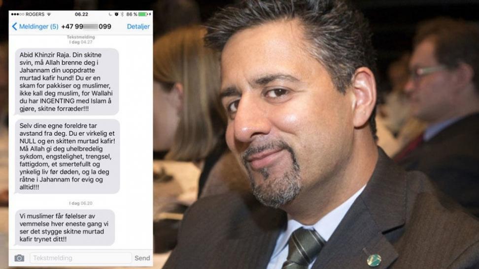 Etter å ha kritisert bruken av nikab og burka, fikk venstrepolitiker Abid Raja en lite hyggelig sms Foto: NTB scanpix/ ABC Nyheter
